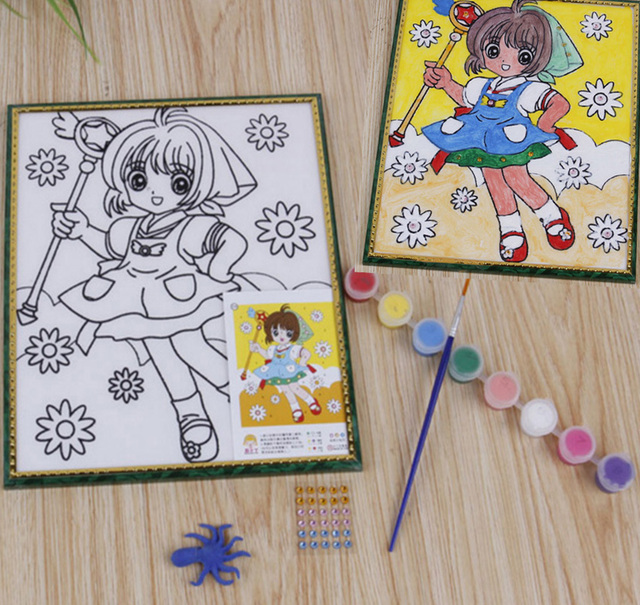 children kids drawing toys sand painting watercolour anime diy crafts art doodle pad painting card preschool