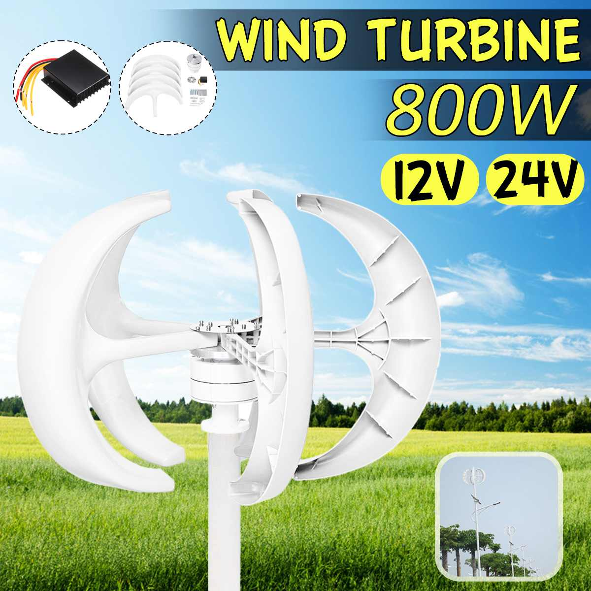 <font><b>800W</b></font> <font><b>Wind</b></font> Turbines <font><b>Generator</b></font> Lantern Vertical Axis 12V 24V 5 Blades Motor Kit For Home Hybrid Streetlight Use Electromagnetic image