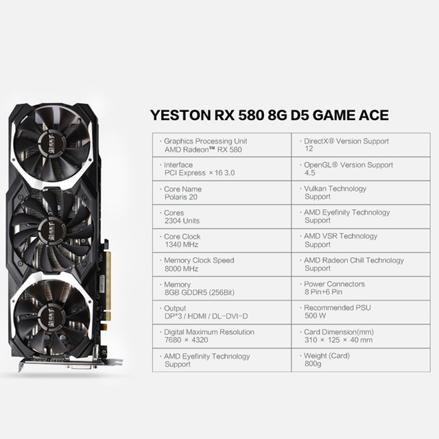 Yeston Radeon RX 580 GPU 8GB GDDR5 256 bit Gaming Desktop computer PC Video Graphics Cards support DVI/HDMI 1