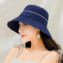 BINGYUANHAOXUAN 2019 Newest women cotton bucket hats summer cloth sun flat top solid color