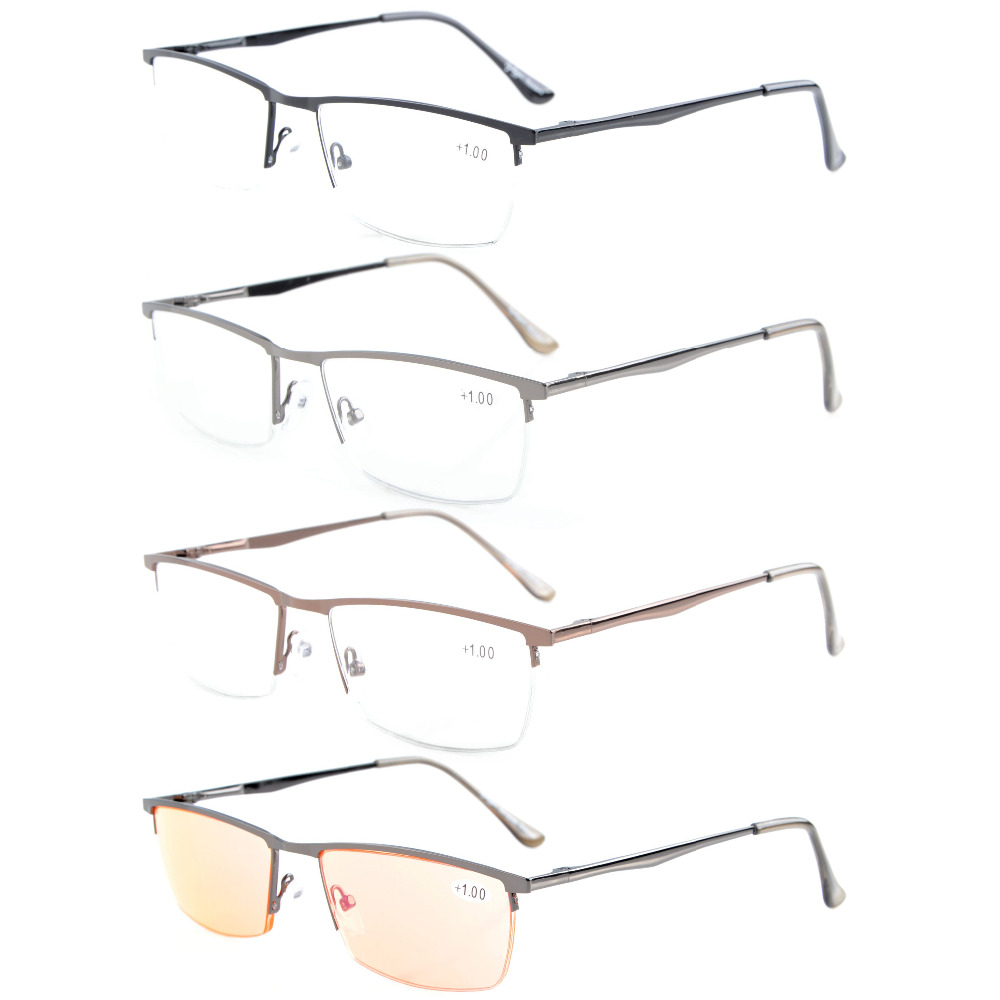R1614 Mix Eyekepper 4-pack Kwaliteit Spring Hing Half-Rim leesbril + - Kledingaccessoires