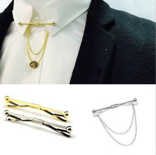 2017 new fashion Men Silver Gold Tone Shirt Collar Pin Tie Clips Clasp Bar Square Head Brooch Hexagon