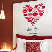 Red Lips Of Love Vinyl Wall Stickers Home Decor DIY Wedding Bedroom Living Room 3D Art Decals House Decoration Wallpaper