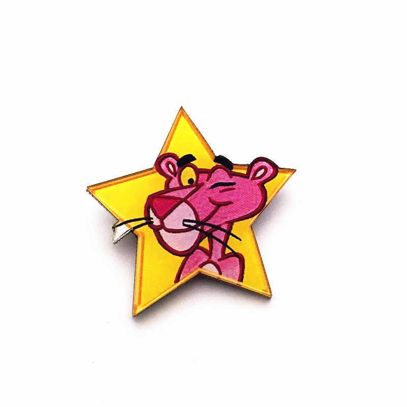 1Pcs Lucu Kartun Pink Panther Bentuk Acrylic Lencana Anak-anak Perempuan Pakaian Sweter Girlbag Dekorasi Anak Hadiah Pesta Bros Pin