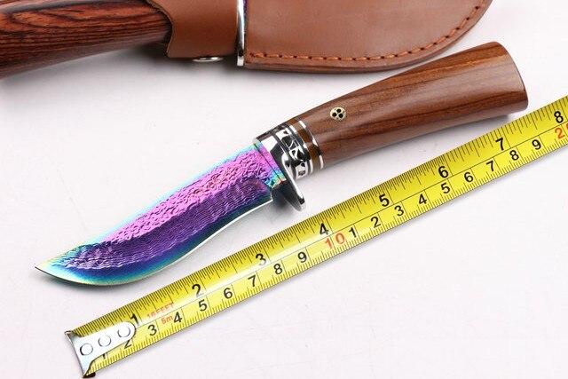 New Colorful Titanium Damascus font b Hunting b font font b Knives b font Yellow Sandal