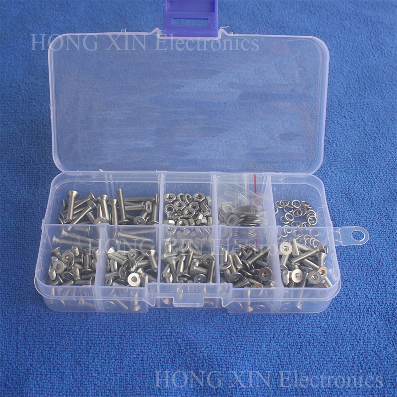 300pcs/set Assortment Kit Stainless Steel Hex Socket Screw Bolt Nut M3 Flat head Repair Tool Hardware Fastener PCB screw 300pcs set m3 nylon hex spacer screw nut separator kit stand off standoff set pcb black white fastener hardware reliable