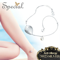 Special Brand Fashion Natural Pearls Anklets Sea Style 925 Sterling Silver Jewelry Foot Accessories Gifts for Women S1605A