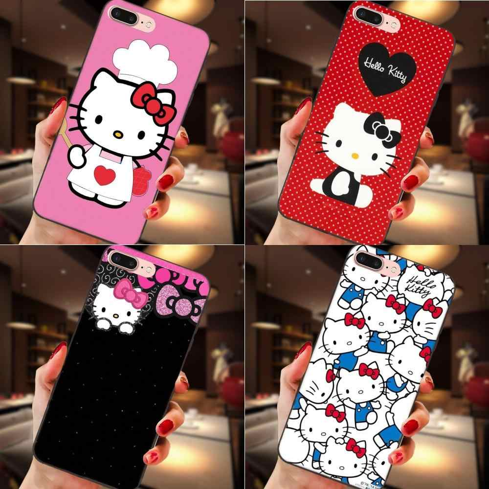 Olá kitty estilo flor duro protetor macio para apple iphone 4 4S 5 5S se 6 s 7 8 plus x xs max xr