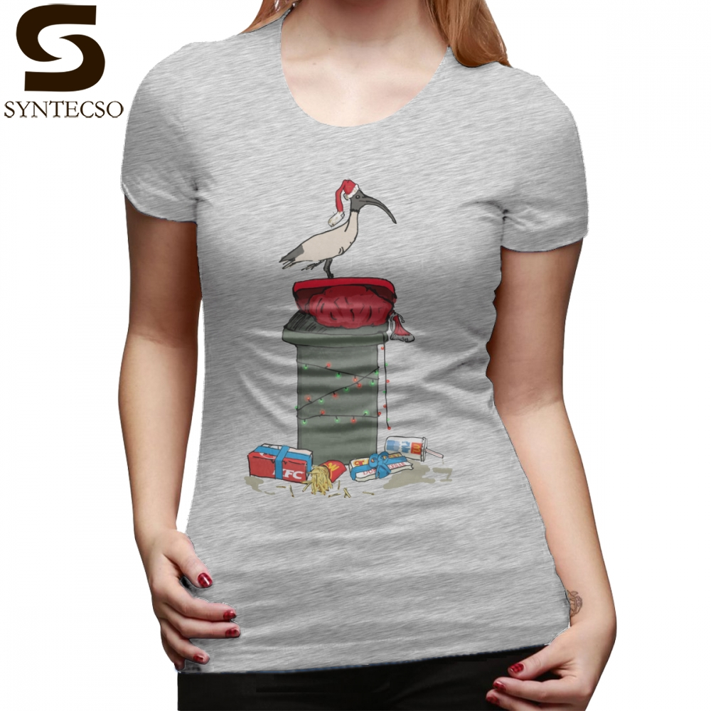 Turkey T-Shirt Xmas Bin Chicken T Shirt Kawaii Short-Sleeve Women tshirt Red 100 Cotton Large Printed O Neck Ladies Tee Shirt