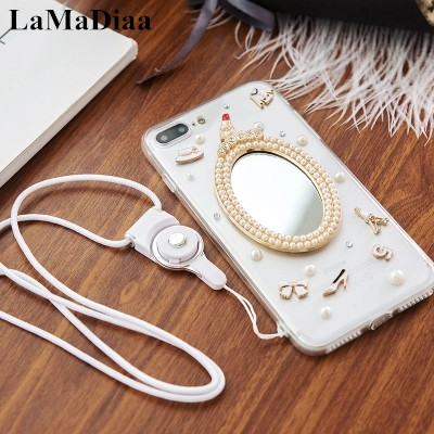 LaMaDiaa Bling Pearl Mirror Phone Cases For Huawei P8 P9 P10 P20 Lite Plus Mate 7 8 9 10 LIte Fashion Clothes Suite soft shell
