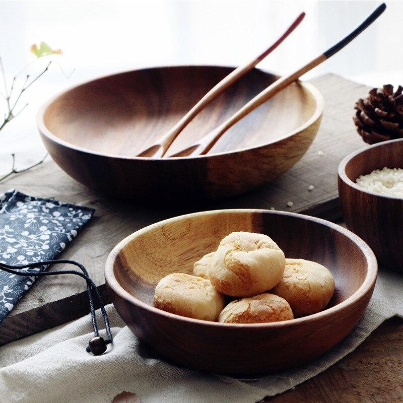 European Acacia fruit salad bowl natural solid wood with no lacquer, deep dish, wood bowl, rice bowl, soup bowl, tableware