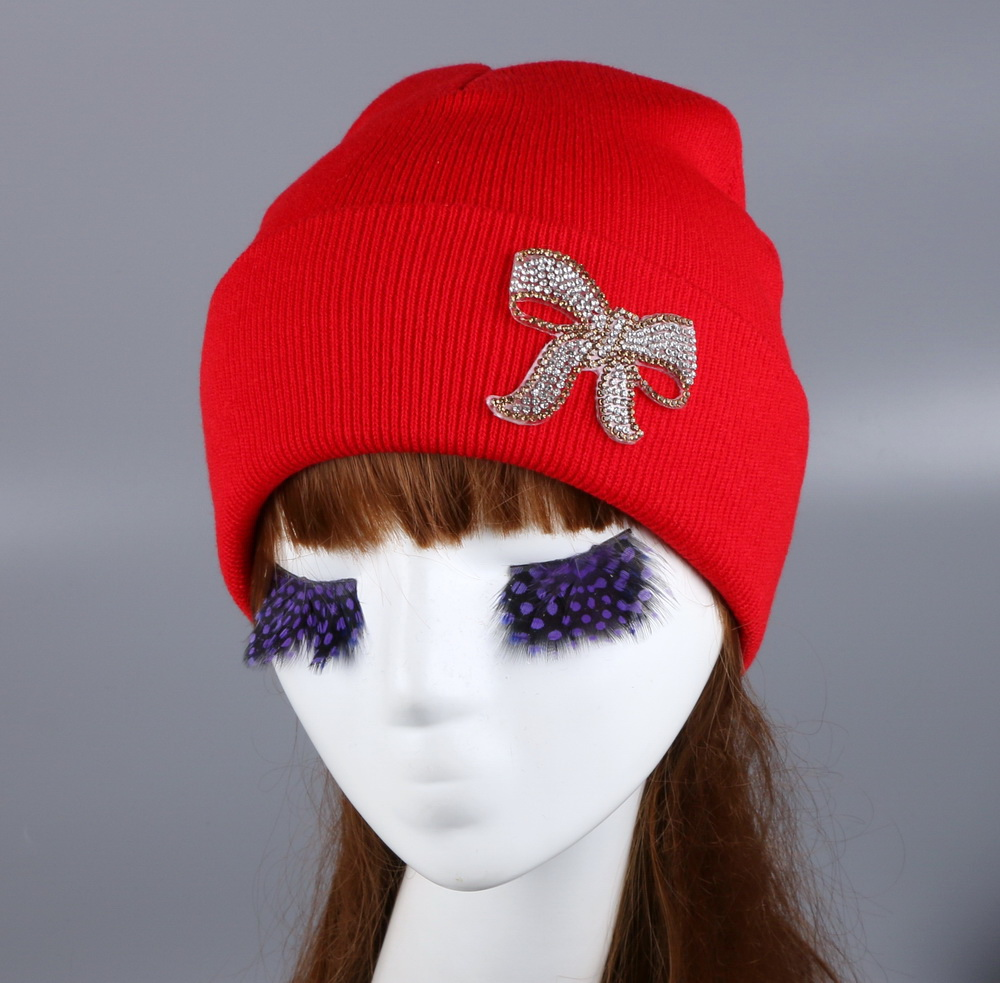 ef49d4e34af Wholesale women woman girl animal fur pompons brand winter hat luxury  rhinestone beauty beanie gorros fashion custom autumn hats-in Skullies    Beanies from ...