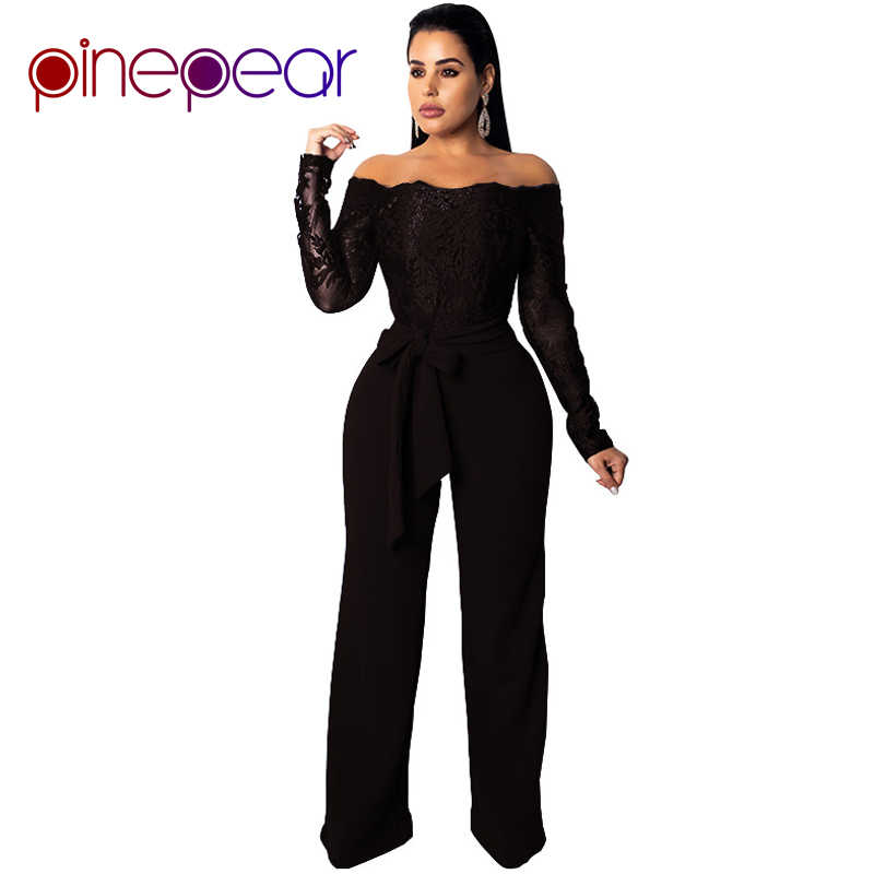d8157cbc6491 ... PinePear New 2019 Royal Blub Elegant Off Shoulder Floral Embroidery Lace  Jumpsuit Women Sheer Long Sleeve ...