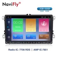 NaviFly Android 9.1 car radio gps navigation for VW polo golf 5 6 passat B5 B6 tiguan skoda yeti superb rapid WIFI BT CANBUS 2G