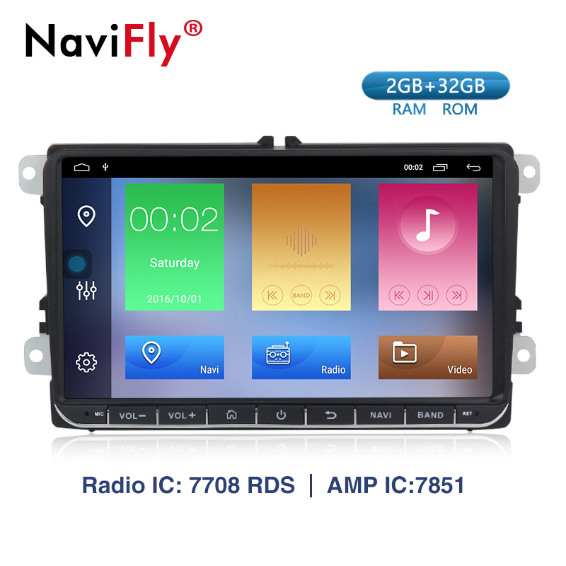NaviFly Android 9.1 car radio navegação gps para VW golf polo passat 5 6 B5 B6 tiguan skoda superb yeti rápido WIFI BT CANBUS 2G