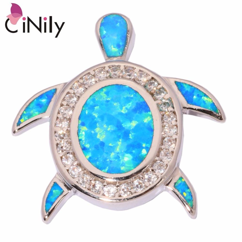 CiNily Created Blue Fire Opal Cubic Zirconia Silver Plated Wholesale Lovely Tortoise for Women Jewelry Pendant