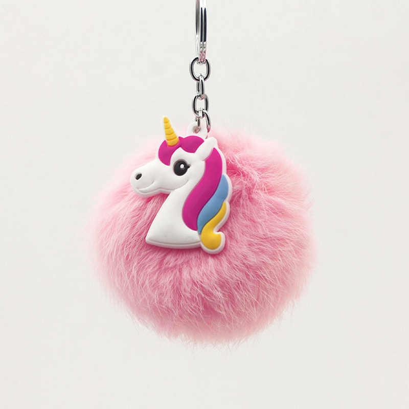 Chất Lượng Cao Original Anime Ngựa Đồ Chơi Dễ Thương Mềm Unicorn Keychain Plush đồ chơi Phụ Nữ Fluffy Fur Pom Pom Keyring Bag Treo Đồ Chơi quà tặng