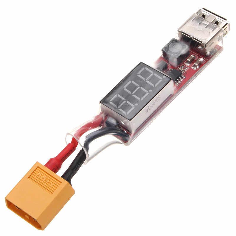 ใหม่ 2 S 6 S Lipo แบตเตอรี่เป็นอะแดปเตอร์แปลงพลังงาน USB แสดงผล 5 V 1A XT60 ปลั๊ก/ T Plug60mmx17mmx11mm สำหรับเฮลิคอปเตอร์ RC