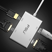 Multi function USB type c to VGA DVI HDMI USB Adapter for Computer Macbook Tablet Monitor