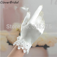 2014 wrist length finger bow-tie short wedding gloves wedding accessories lace bridal glove ivory for wedding