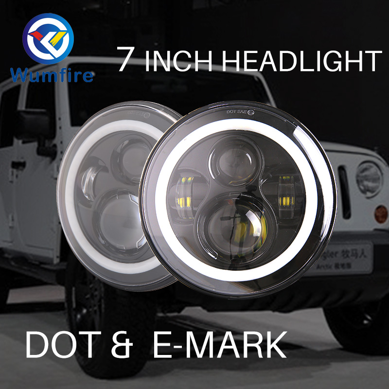 High quality 7 Inch Round Halo Led Headlight for Jeep Wrangler Unlimited JK 7 DRL Angle