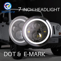 High Quality 7 Inch Round Led Headlight Halo Angle Eyes Led Headlamp For Jeep Wrangler Unlimited