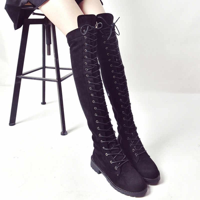 Büyük 43 Sıcak Kadın Botları Motosiklet Çizme Kış Bayanlar Moda Kare Topuk Çizmeler Ayakkabı Diz Üzerinde Uyluk Yüksek Süet uzun Çizmeler