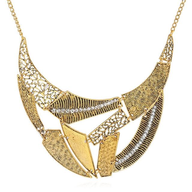 Фото lzhlq винтажные полые панк ожерелья 2021 женские геометрические