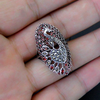 100% 925 Sterling Silver Peacock Ring Statement Fashion Red Zircon S925 Thai Silver Adjustable Rings for Women Jewelry Gifts