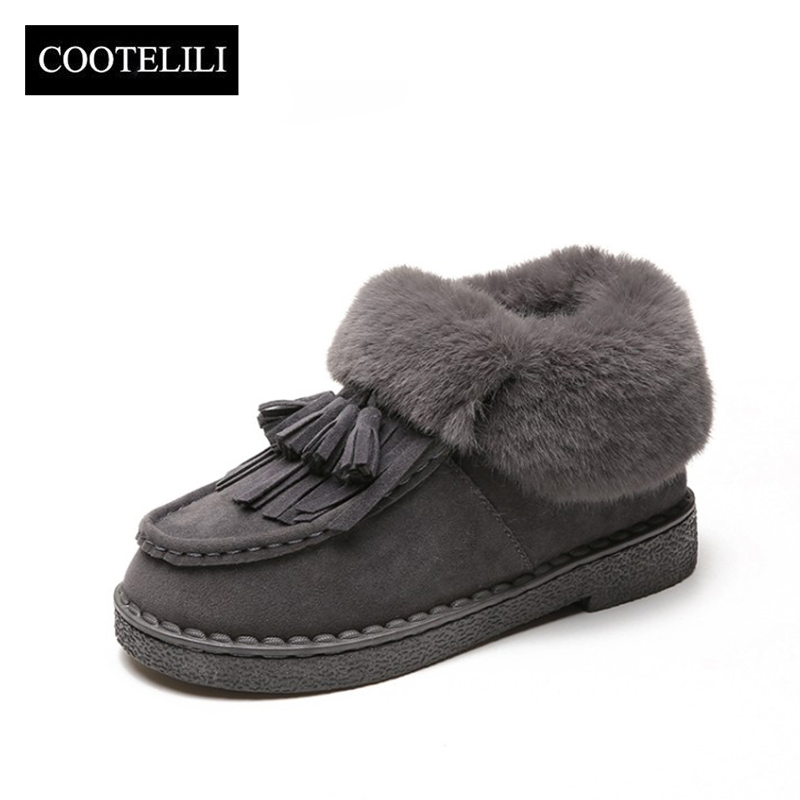 COOTELILI Women Snow Boots Warm Winter Suede Ankle Boots with Fur Botas Mujer Tassel Flat Heels Casual Shoes Woman 36-40 hidden heel women casual shoes 2017 women high tops canvas height increasing wedges shoes white black ladies platform shoes