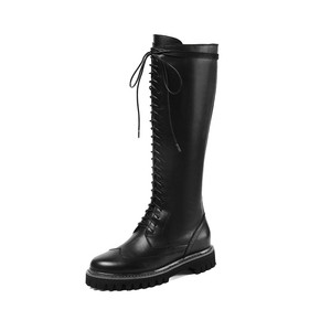 Image 3 - MORAZORA 2020 hot sale genuine leather platform shoes women Motorcycle Boots zip lace up autumn winter knee high  boots female