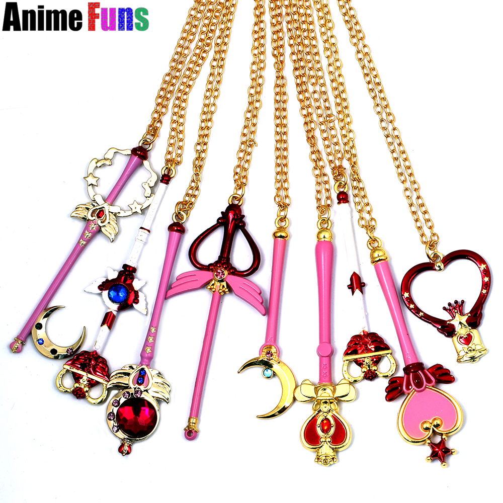 9 types Anime Pretty Soldier Sailor Moon Necklace Guardian Gold Heart Star Key Pendant Charm Cosplay Jewelry Birthday Gifts