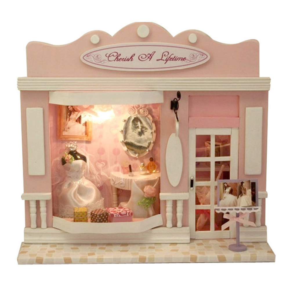 DIY Miniature Room Wooden Doll House Wedding Dress Store with Furniture LED Lights Dollhouse Toys for Children
