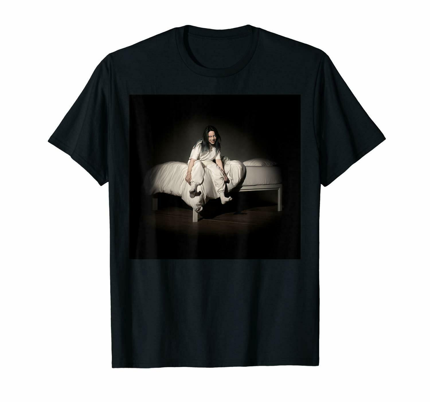 Billie Eilish When We All Fall Asleep Where Do We Go Black T Shirt For Fans Fashion Logo Printing T Shirts in T Shirts from Men 39 s Clothing