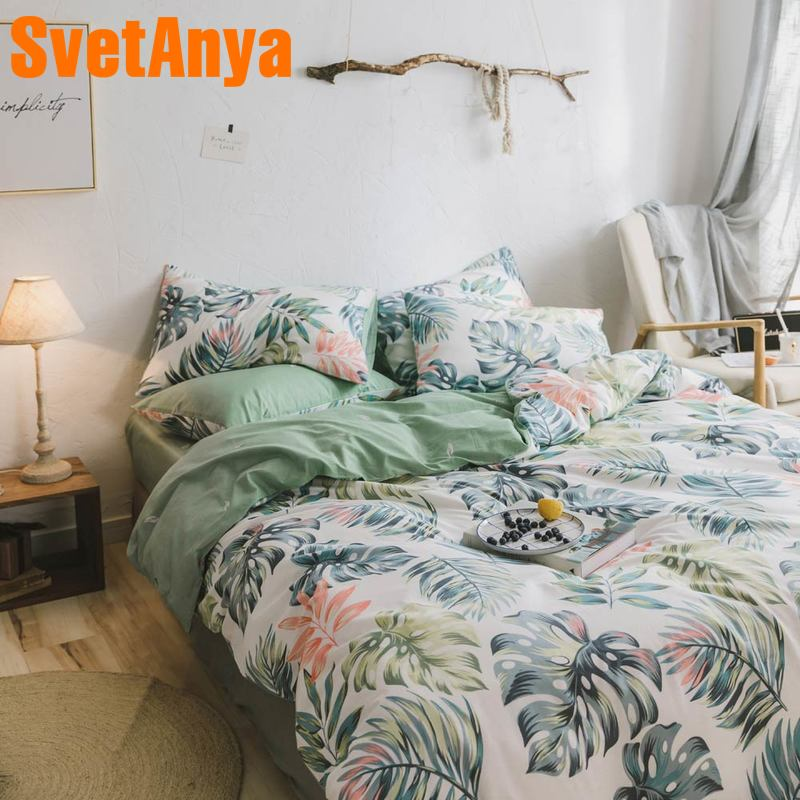 Svetanya Cotton Bedding Set Leaves printing flat sheet pillowcase Duvet Cover Linen sets