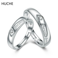 HUCHE Couple Ring Wholesale Genuine 100 Real Pure 925 Sterling Silver Rings For Women Fashion Jewelry