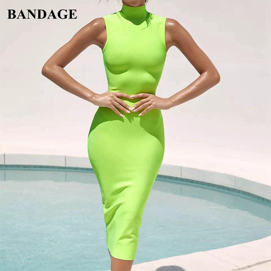 BANDAGE femmes Bandage robe sans manches fête Boutiques Midi été robe fluo vert moulante Vestidos nouveau Chic