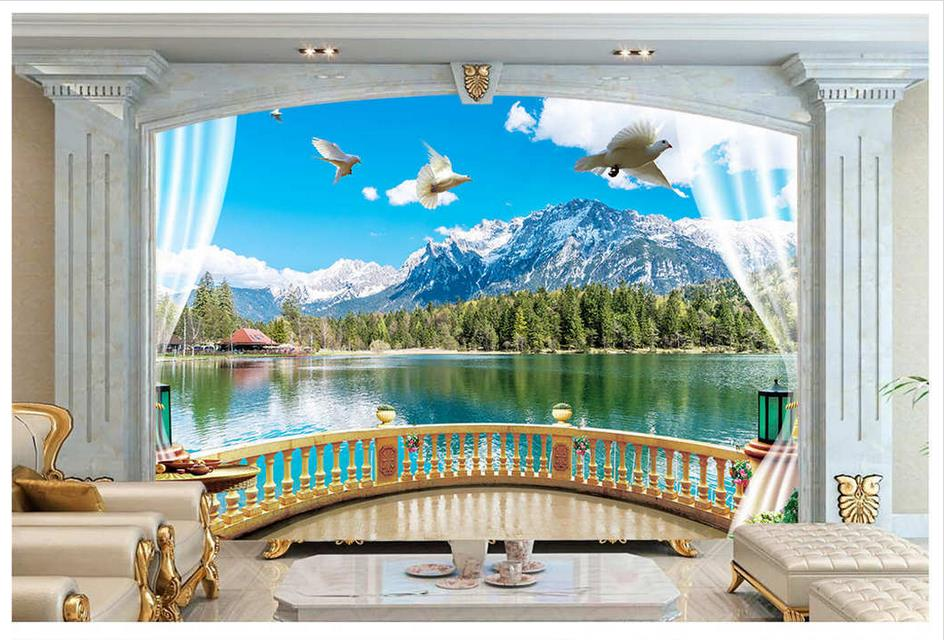 Custom 3d Mural Wallpapers Hd Landscape Mountains Lake: 3d Wallpaper Custom 3d Murals Wallpaper Wall The Beautiful