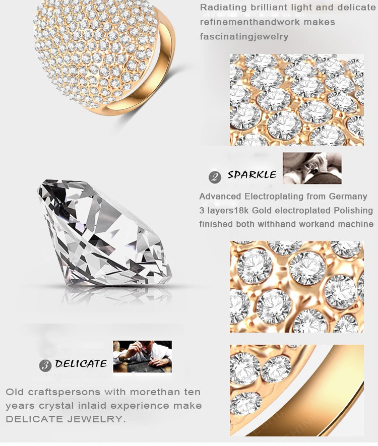 LZESHINE Custom Rings For Women Gold Plate Pave Full Rhinestone Austrian Crystals SWA Elements Party Ring Jewelry Ri-HQ0235-b 6