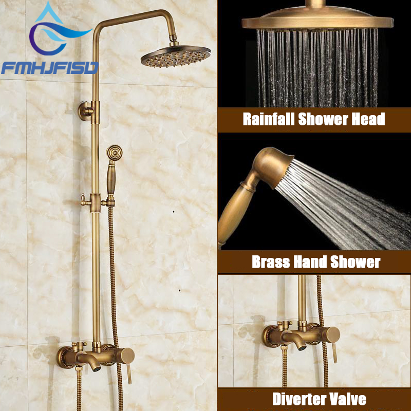 Antique Brass Shower Faucet Bathroom Shower Mixer Tap Wall Mounted Rainfall Shower Head Handshower Tub Spout dofaso creative design brass rainfall grohe shower faucet with handshower wall mounted golden tub faucet shower mixer tap