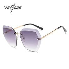 WEGORE Sin Montura gafas de Sol de Las Mujeres Diseñador de la Marca de Moda gafas de Sol Gafas Gafas De Sol Feminino Gafas con Caja de Vidrios