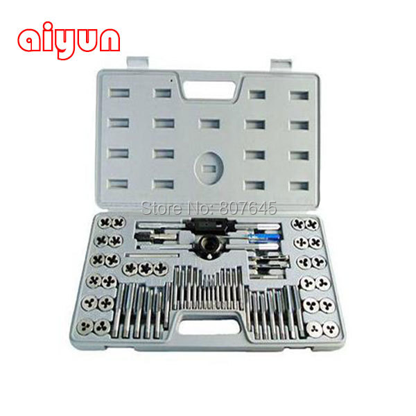 60pcs/set tap and die set M3~M12 Screw Thread Metric Plugs Taps & Tap wrench & Die wrench, hand screw taps Hand Threading 4pcs set hand tap hex shank hss screw spiral point thread metric plug drill bits m3 m4 m5 m6 hand tools