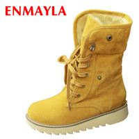ENMAYER Women Winter Boots Short Snow Boots Thick Cotton Padded Solid Color Casual Flat Heel Lace