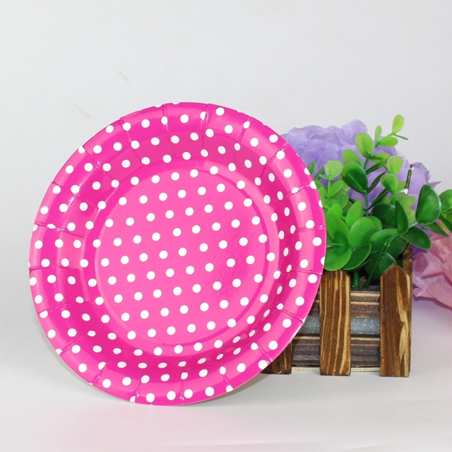 Hot sale 10pcs/lot 7 Inch Disposable Polka Dot Paper Plates for BBQ Kids Birthday  sc 1 st  AliExpress.com & Hot sale 10pcs/lot 7 Inch Disposable Polka Dot Paper Plates for BBQ ...