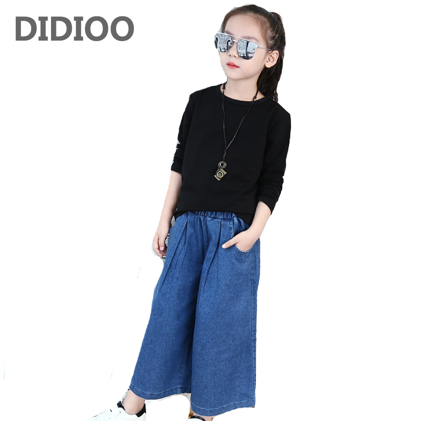все цены на  Girls Clothes Sets Cotton Loose Clothing Suits For Girls Striped T-Shirts & Jeans 2Pcs 2017 Wide Leg Denim Pants For Girls Tees  онлайн