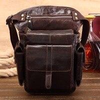 Genuine Leather Riding Motorcycle Waist Pack Bag Belt Bum Sling Shoulder Messenger High Quality Men's Oil Wax Cowhide Fanny Bag