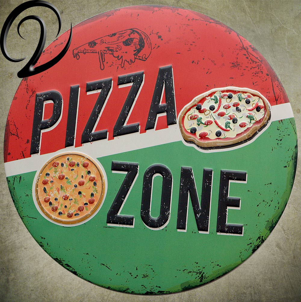 Pizza Zone Irregular Metal Signs Shabby Chic Wall Decoration Bar Pub Cafe Home Tin Plate Signs Vintage Tin Plaques