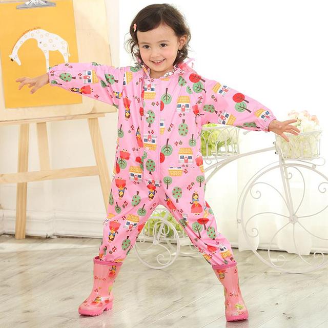 KTLPARTY Children cartoon raincoat kids jumpsuit rainwear raincover for children baby boy girl waterproof poncho star rain coat