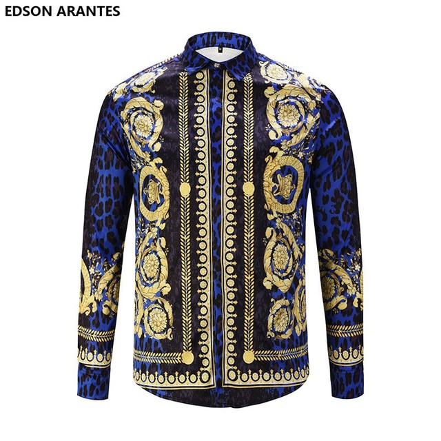 c15bd79a3f5c EDSON ARANTES Mens Fancy Shirts New Summer Shirt Men Women Luxury Royal  Palace Baroque Crown Print Slim Fit Camisas Florales