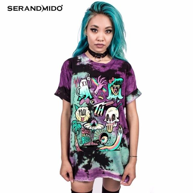 SERANDMIDO Czaszka Wydrukowano Kobiety Koszulka Punk Rock Plus Size O-szyi Miłośników Odzież Europejskiej Style Tops Tee SM17T103-11